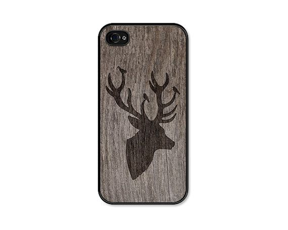 Black and Brown Deer iPhone 5 Case - Plastic iPhone 5s Case -  Christmas Wood iPhone 5 Skin - Rustic Woodland iPhone 5 Cover For Him