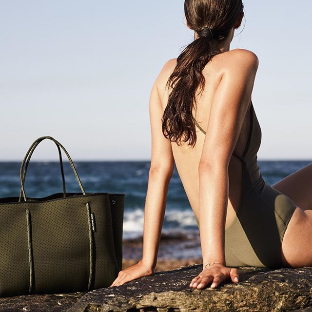 Whale Beach: where we get #grounded #soegrounded #khaki State of Escape are the originators and creators of the perforated neoprene Escape carryall bag. 100% designed and handcrafted in Australia.