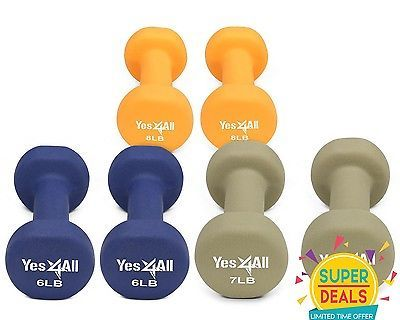 Yes4All Neoprene Coated Dumbbell Hand Weight Set 3 Pair 6 7 8 lbs - DBVFE3D