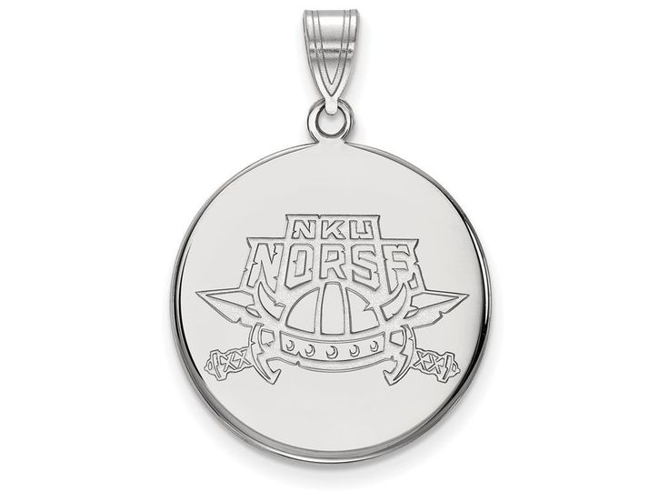 LogoArt Sterling Silver Northern Kentucky University Large Disc Pendant Necklace - Chain Included