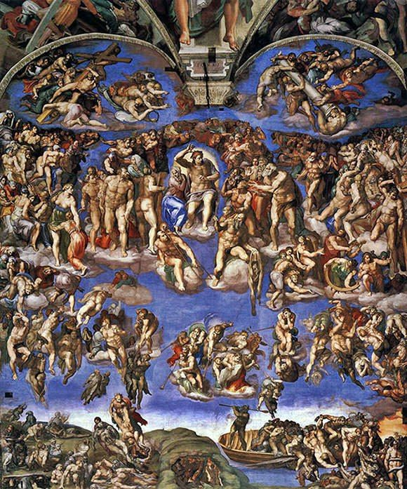 Страшный суд Тип: фресковая живопись. Год создания: 1541. В искусстве запада «Страшный суд» входит в число самых значимых работ. Окрашенная на алтарной стене капеллы, она демонстрирует второе пришествие Христа на землю. Иисус показан в центре и окружен выдающимися святыми, воскресшими из мертвых.