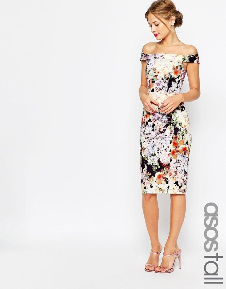 ASOS Tall | ASOS TALL WEDDING Bardot Navy Floral Off Shoulder Pencil Dress at ASOS