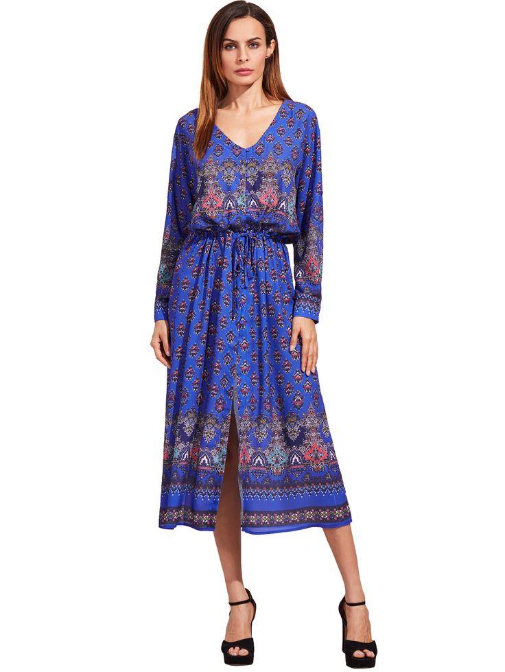 Shop Blue Adjustable Sleeve And Waist Boho Dress online. SheIn offers Blue Adjustable Sleeve And Waist Boho Dress & more to fit your fashionable needs.
