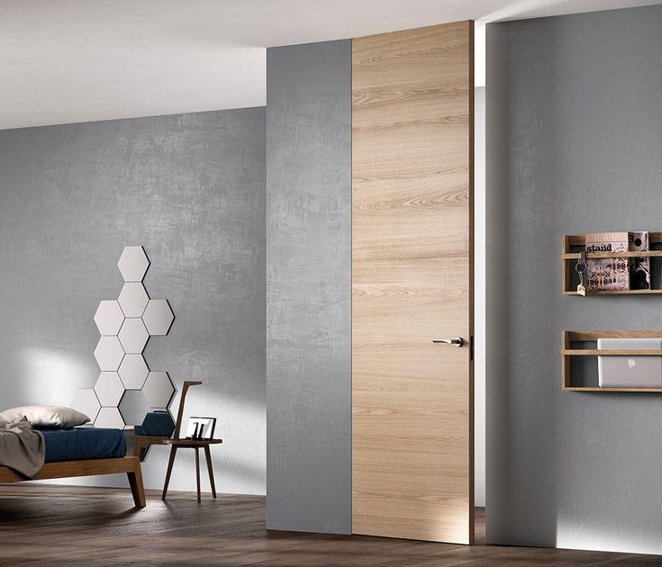 Wandbündige Zimmertür aus Holz EXIT ZERO by FERREROLEGNO