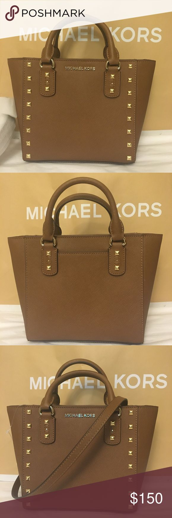 "🍀🌹🌸Michael Kors sandrine studd 🌸🌹🍀 Brand new  Dimension: 11""L 9""H 4""W. Color: Brown Michael Kors Bags Crossbody Bags"