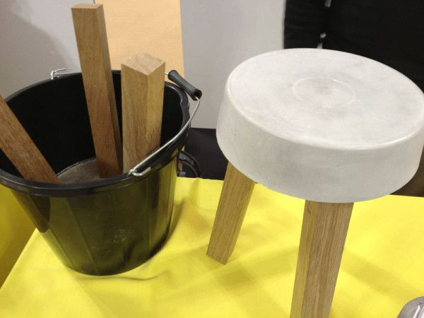 Leftovers, also from Klemens Schilling, is an easily made stool or table made from bags of leftover concrete mix. Take a bucket, mix the concrete, and insert three legs in until the mix hardens.