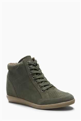 Khaki Wedge High Top Trainers