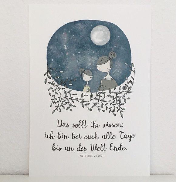 Illustrationen - Taufspruch Mädchen Illustration Himmel floral Mond - ein Designerstück von miameideblog bei DaWanda