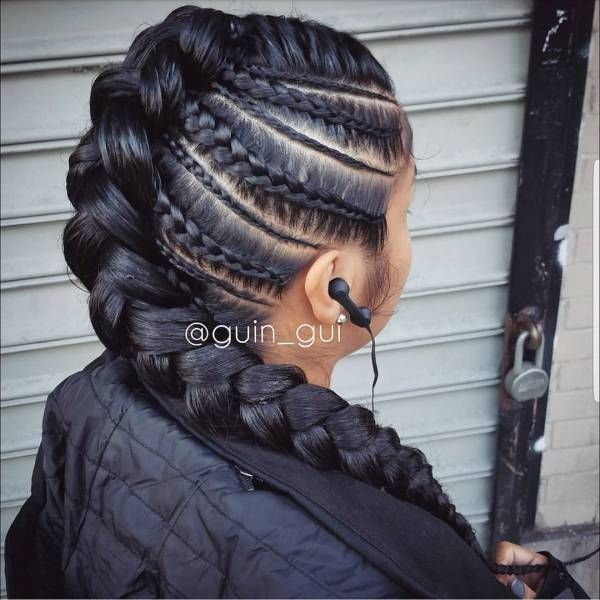Braids By : Guin-Gui Jumbo and tinny rows braided to the middle ,named (patewo) in Nigeria yoruba language, best on relaxed hair with added extension.