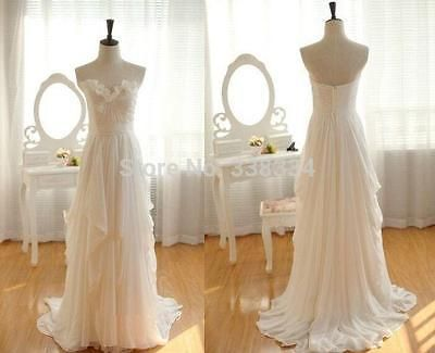 White/Ivory Chiffon Ruffles Bridal Dress Simple bohemian Beach Wedding Dresses