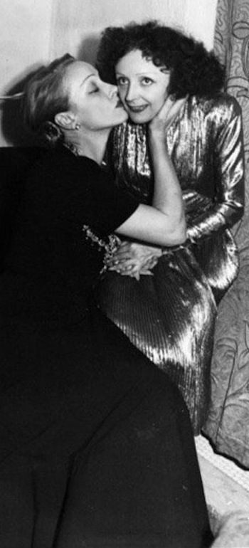 Marlene Dietrich and Edith Piaf - 31-10-47    Vive l'amitié franco-allemande!