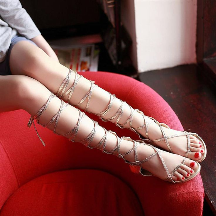 Retro Roman Gladiator Sandals Flat Shoes Thongs Gold Sliver Knee High Slingback