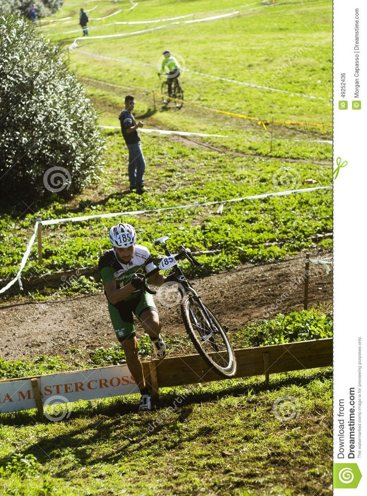 Cycle cross competitors at an event in the Acquedotti in Cinecitta park in Rome, Italy.