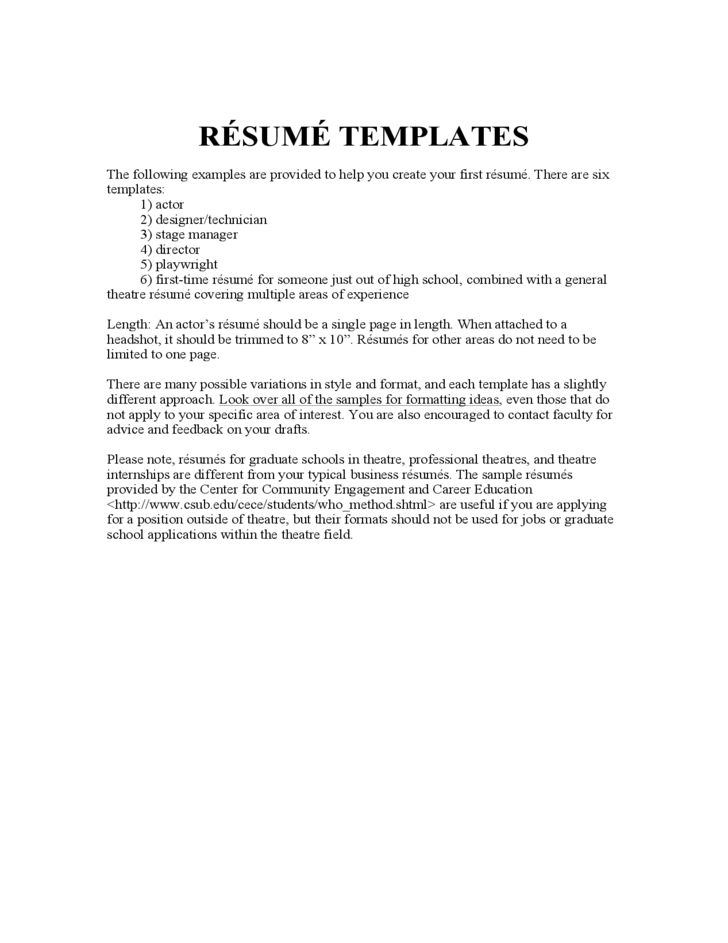 acting resume example free download for blank template build your