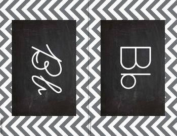 Chevron Alphabet Wall Cards Manuscript & Cursive - Gray