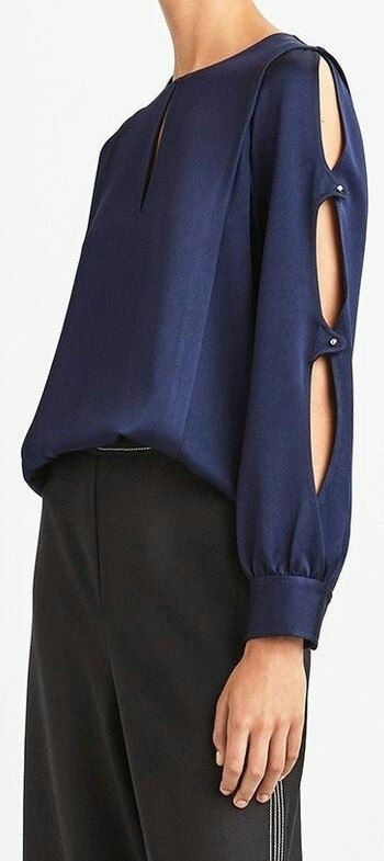 Navy blouse with sleeve detail
