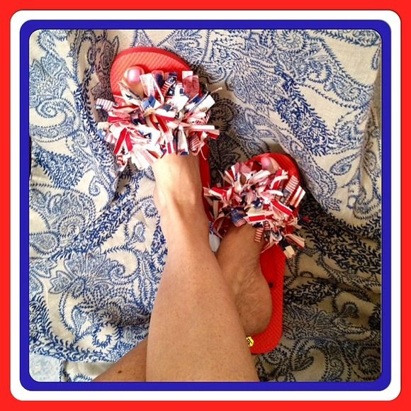 Patriotic Red, White and Blue Flip Flops. Red, white and blue flip flops, unique and one of a kind. Gently worn and handcrafted by myself. Show your patriotism with these cute flip flops that will get attention, I have had lots of complements on them. DBanks Creations Shoes