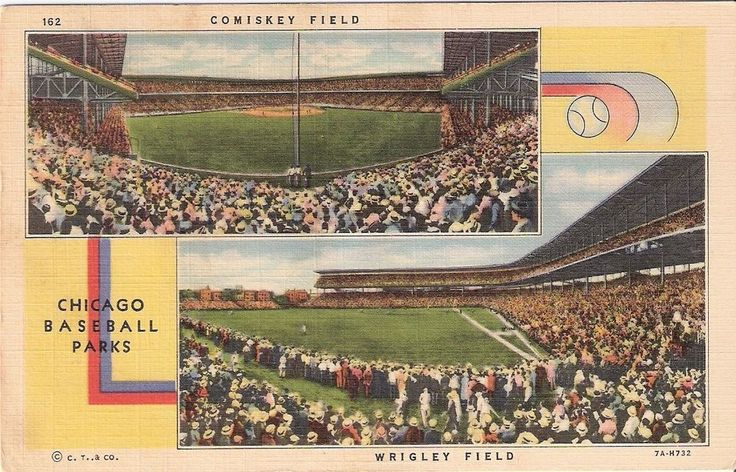 Chicago Baseball Parks Vintage Linen Postcard Comiskey Wrigley Fields 7A-H732