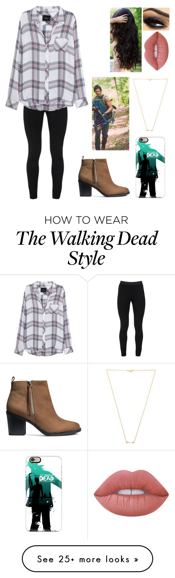 """The Walking dead has me stressed out"" by blessed-with-beauty-and-rage on Polyvore featuring Peace of Cloth, Rails, Casetify, H&M, Lime Crime and Wanderlust + Co"
