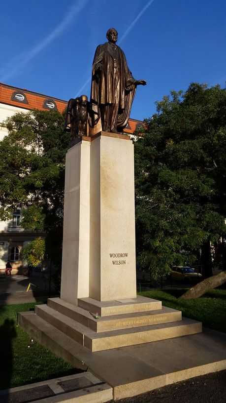 "Woodrow Wilson was a supporter of the formation of Czechoslovakia. The original statue was unveiled in 1928, torn down by the Nazis and reinstalled in 2011. It's in front of the Prague Main Train Station which on the Czech Monopoly board is called ""Wilsonovo""."
