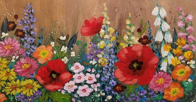 Flower Garden Acrylic Painting Tutorial by Angela Anderson on YouTube #FredrixCanvas #flowers #poppy