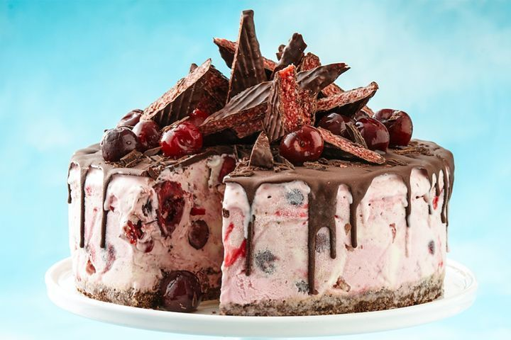 Cherry Ripe ice-cream cake