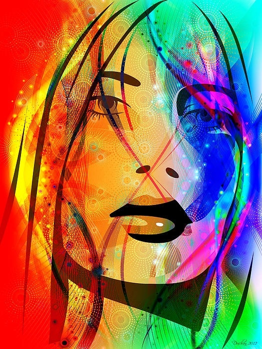 Lost Girl- Colorful Abstract Art portrait