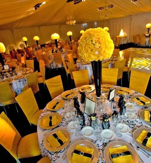 WOW! Black and Yellow reception wedding flowers,  wedding decor, wedding flower centerpiece, wedding flower arrangement, add pic source on comment and we will update it. www.myfloweraffair.com can create this beautiful wedding flower look.