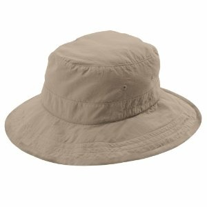 Foldable hat. Can be worn many ways.  One side up or both, with a brooch, angled or down for shade.
