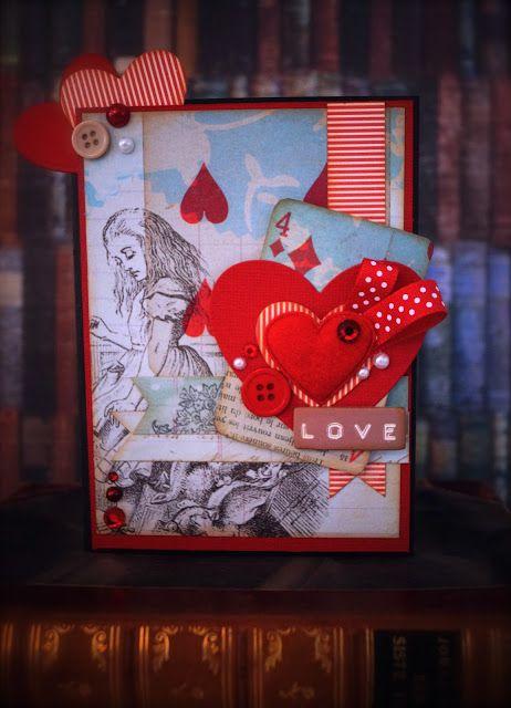 Synnøves Papirverksted: Skisseutfordring hos Sketchy Colors! Valentines, card, handmade card, harts, Alice in Wonderland,