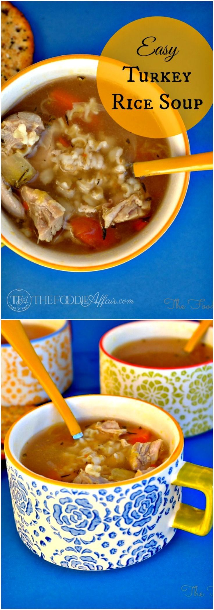 Filling and Easy Turkey Rice Soup Recipe! Transform your leftover Thanksgiving turkey into this healthy, warm and comforting soup! The Foodie Affair