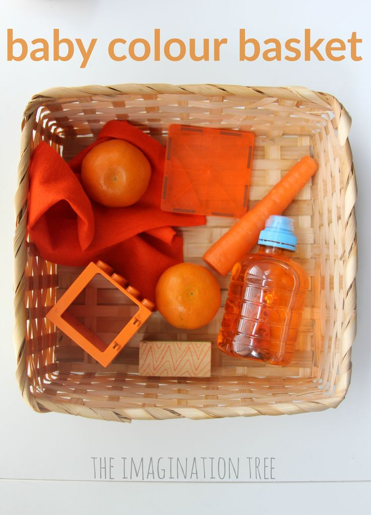 Make this colour themed baby treasure basket for some sensory, heuristic play…