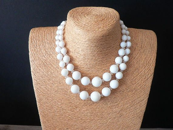 Vintage 50's Double Strand Graduated Faceted White Beads