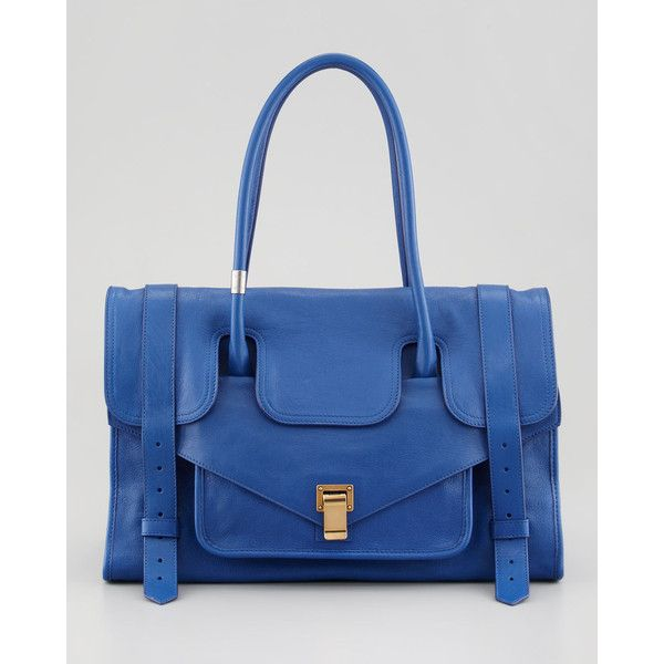 Proenza Schouler PS1 Keep-All Bag, Royal Blue ($1,450) ❤ liked on Polyvore featuring bags, handbags, logo tote bags, flap handbags, tote bag, flap purse and royal blue handbag