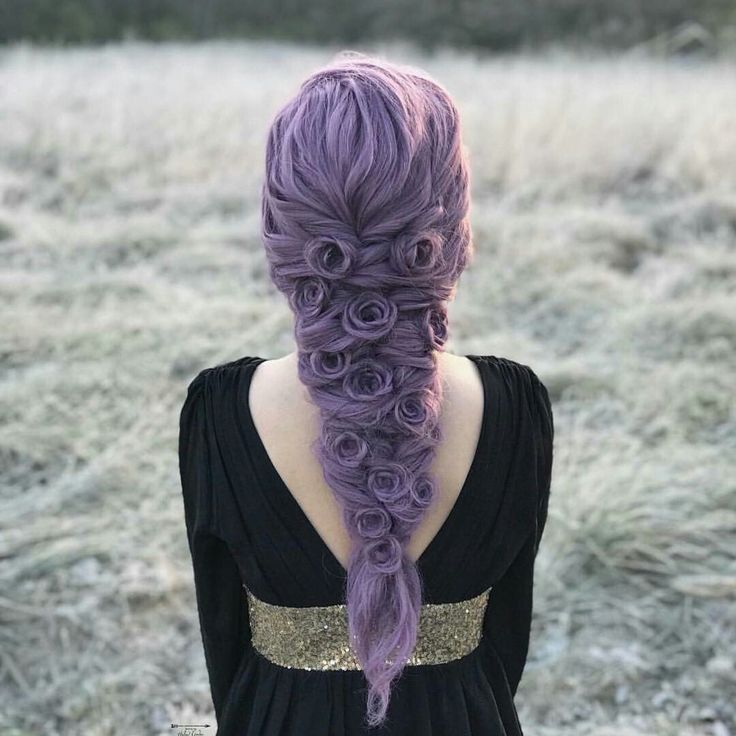 Beautiful lavender hair color. Love her magical fairy tale braid too!