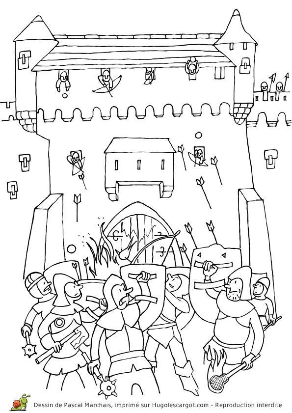 Kleurplaten Kasteel En Ridders.Kasteel Middeleeuwen Kleurplaat