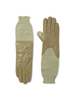 Carolina Amato Women's Knit Sleeve Leather Gloves