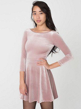 Stretch Velvet Skater Dress | American Apparel $58