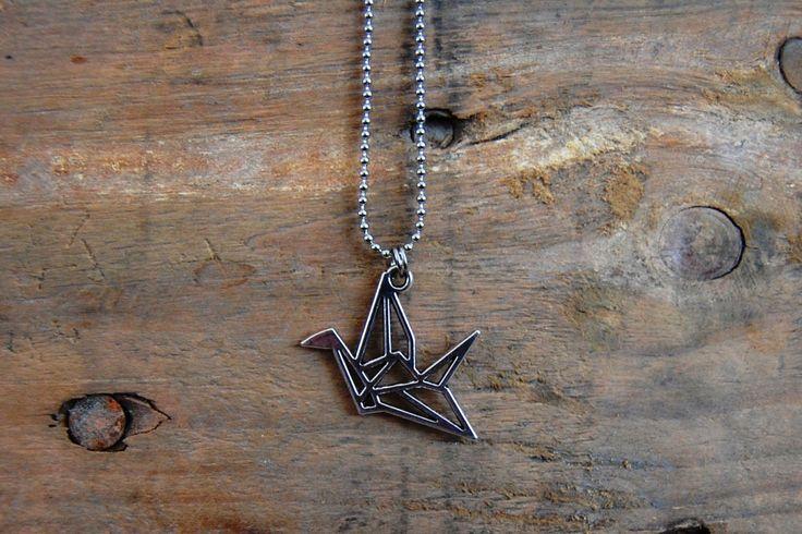 2D origami vogel ketting ZILVER door EarlybirdiesNL op Etsy