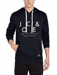 Jack and Jones Men's Noah Sweat Long Sleeve Hoodie, Black, Medium