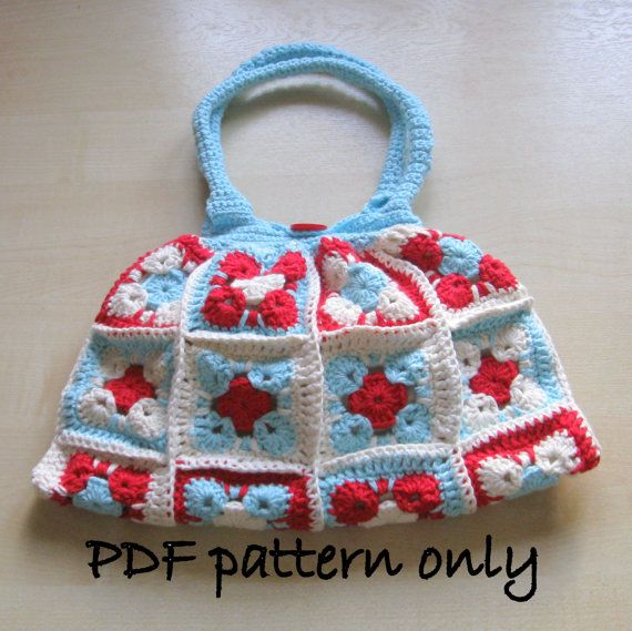 PDF crochet pattern. Lined crochet cotton bag. Instant download.Permi ...