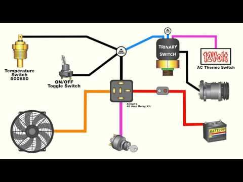 How To Wire An Electric Fan With An Ac Trinary Switch Youtube Electric Fan Automotive Electrical Electric Radiator Fan