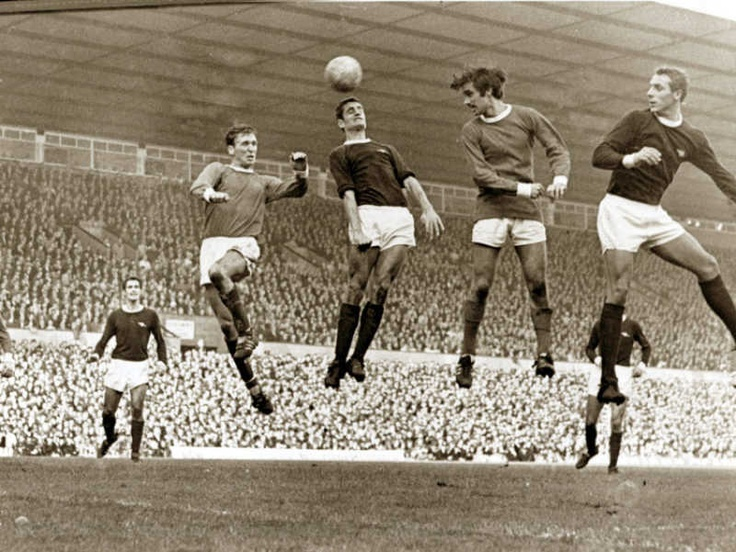 Great pic from Manchester United vs. Arsenal, Football Match at Old Trafford, October 1967
