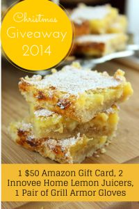 Lemon Bars and Innovee Lemon Squeezer Christmas Giveaway!!!