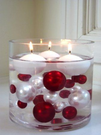 Amazon.com: Unique Elegant Vase Fillers - 90 Pc. Pack Jumbo Red Pearls and White Pearls with Sparkling Red Diamonds and Gems Accents - Wholesale ....The Transparent Water Gels That Are Floating the Pearl Beads Are Sold Separately...: Home & Kitchen