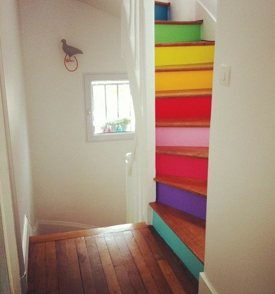 rainbow stairs for kids /attic room