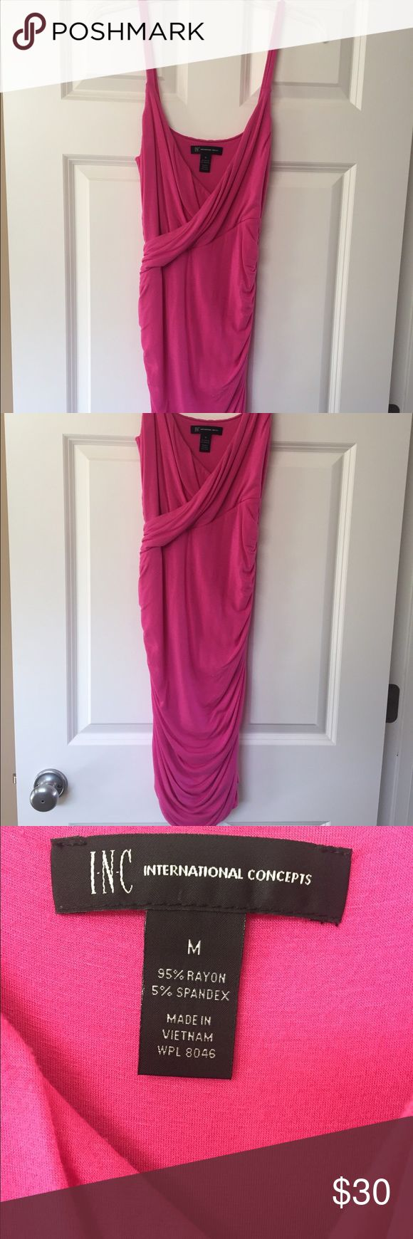 INC Pink Dress With Side Ruching INC pink dress with very flattering side ruching. V-neck. From a pet free and smoke free home. Dress is stretchy. Worn once. Beautiful! INC International Concepts Dresses