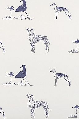 "Emily Bond, ""Long Dog"" Wallpaper £95.00 per roll (but must order 2 rolls minimum order….)  Looks like Greyhound dogs, & maybe Wheaten Terriers, & maybe another tall dog I don't know in there.)  Dark blue-grey dogs, printed on an off-white background. Our bespoke wallpaper is printed in the UK, and made to order.  Minimum order of two rolls per design, and the postage per order of wallpaper is £15. 2 - 4 weeks for delivery. Roll:  50 cm wide x 10 meters long. *Minimum Order:  2 rolls per…"