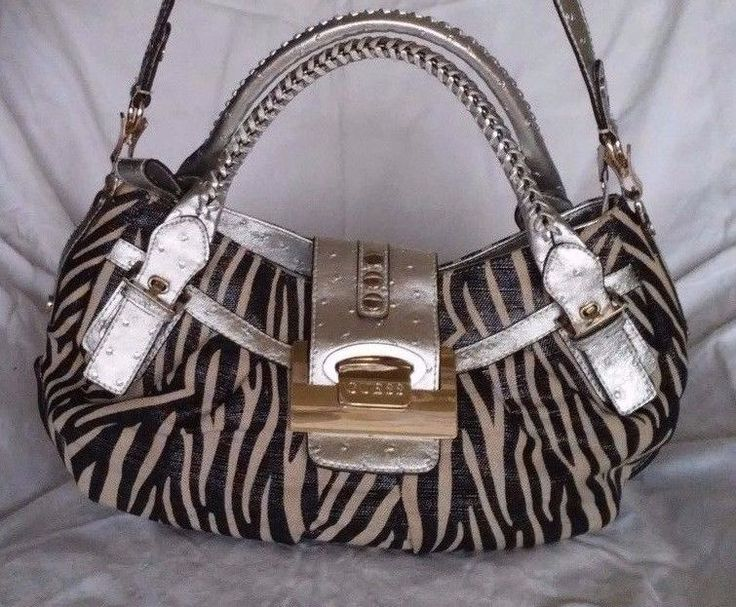 GUESS Zebra Twill Shoulder Handbag Metallic Silver Ostrich Design Leather Trim #GUESS #ShoulderBag