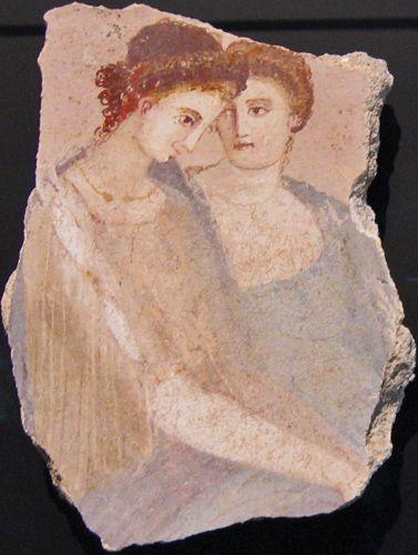 Two Women, Fragment of a wall fresco, Roman, 1-75 CE. @designerwallace